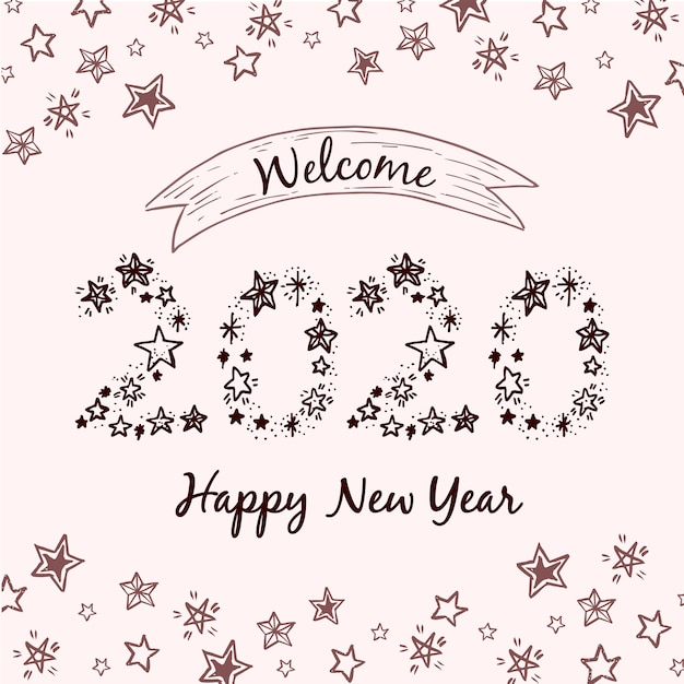 New year concept with vintage design Free Vector