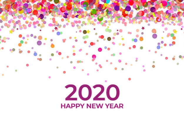 New year confetti background Free Vector