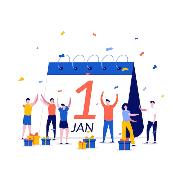 New year day international calendar concept with character. people giving present to each other and celebrating new year. Premium Vector