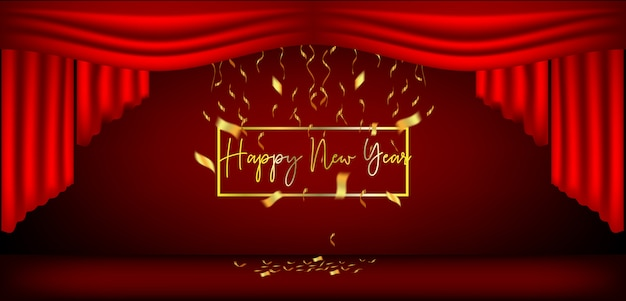 New year design red curtains and ribbons Premium Vector