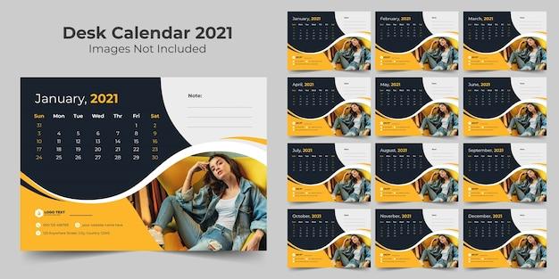 New year desk calendar design template 2021 Premium Vector
