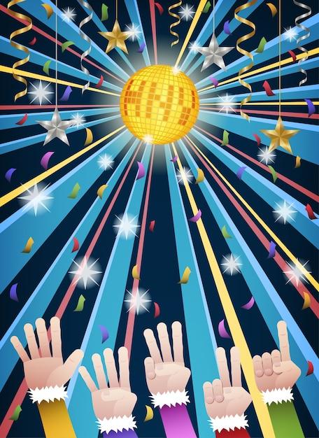New year disco party countdown hands Premium Vector