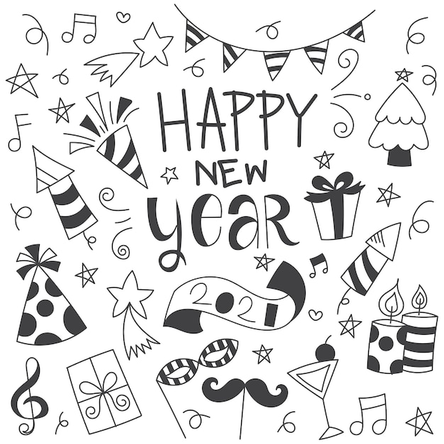 New year doodle Free Vector