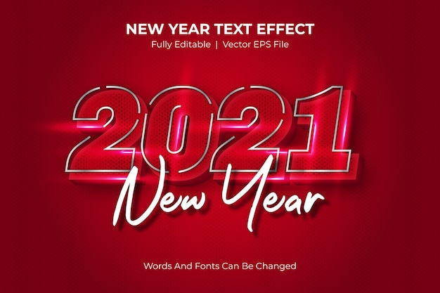 新年の編集可能なテキストスタイル効果 Premiumベクター