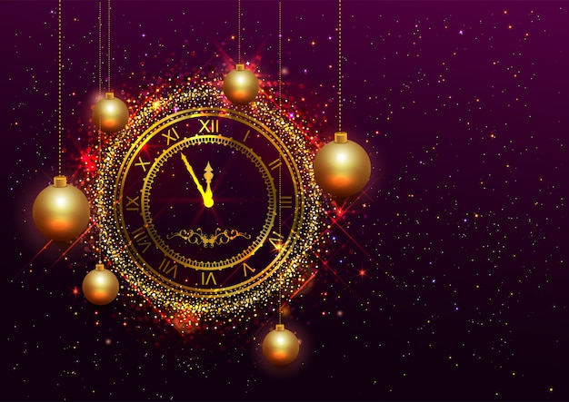 New year eve gold clock with roman numerals Premium Vector