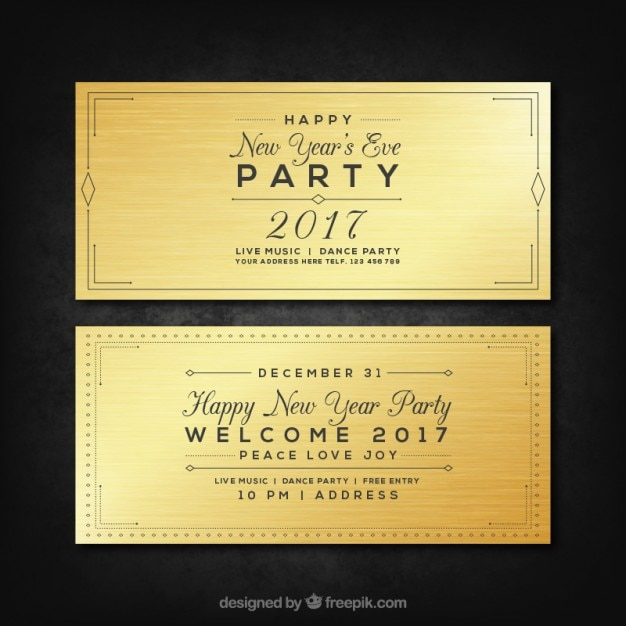 new year eve party banners 2017 pack free vector