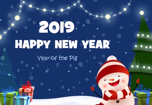 New year festive poster design with cheerful snowman Free Vector