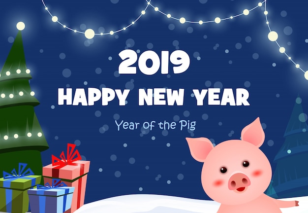 New year festive poster design with cute piggy Free Vector