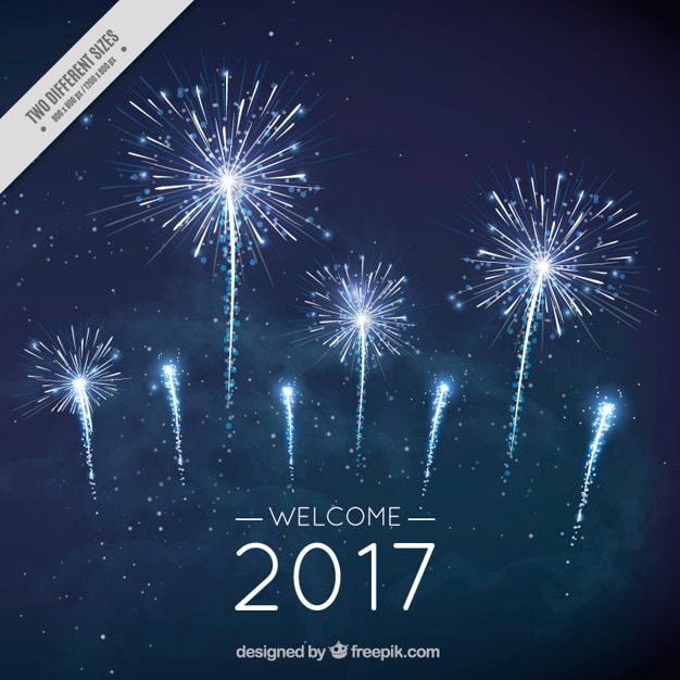 New year fireworks background in dark blue color Free Vector