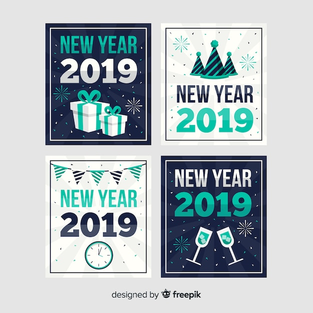 New year flat decoration cards pack Free Vector