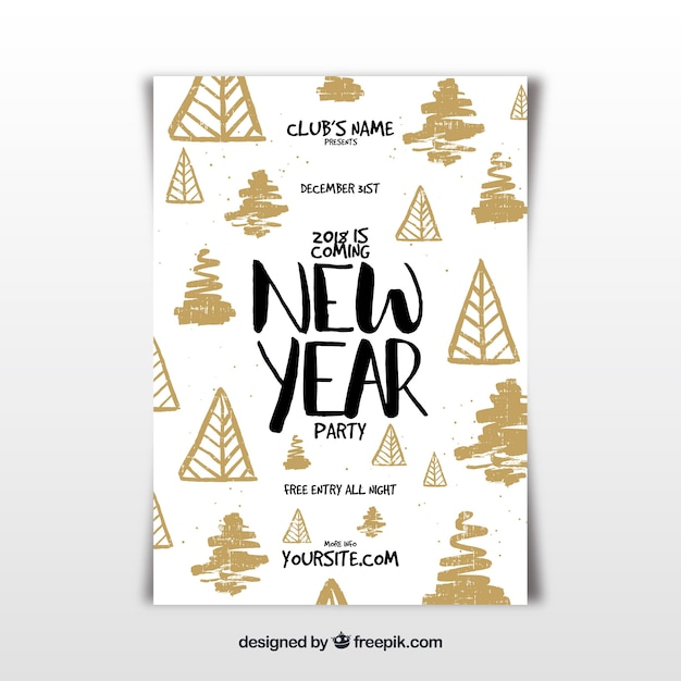 new year flyer template with hand drawn elements free vector