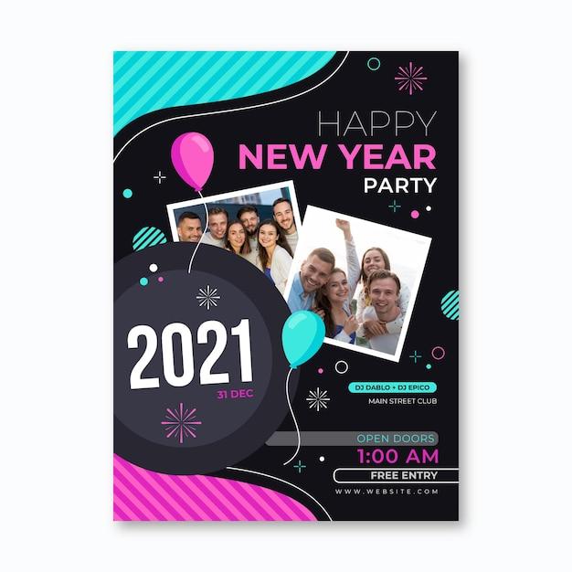 New year flyer template Premium Vector
