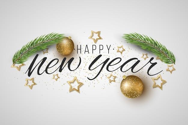 새해 선물 카드. 크리스마스 트리, 빛나는 공, 밝은 배경에 별. 프리미엄 벡터