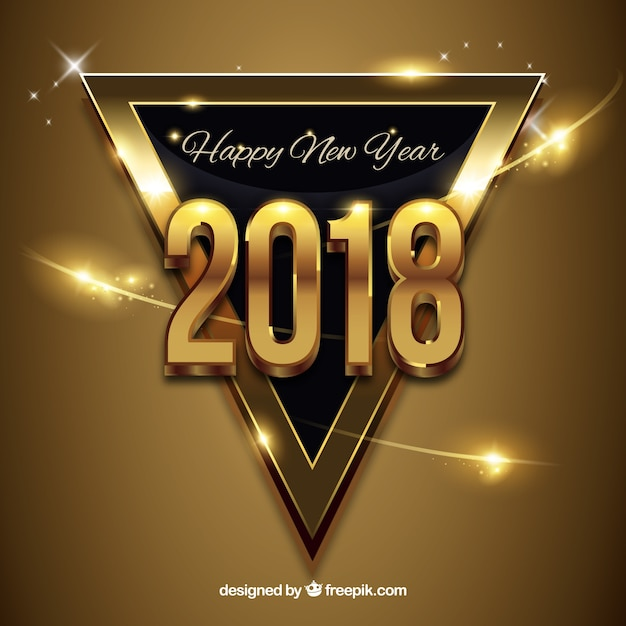 New year golden background with a black triangle Free Vector