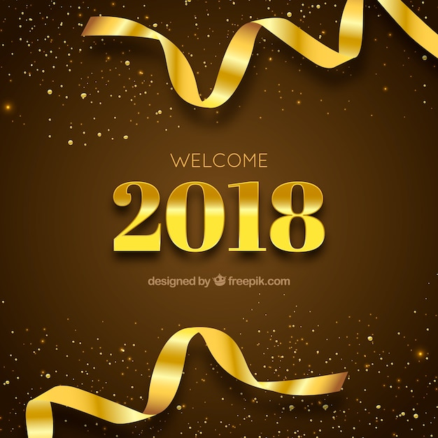 New year golden background  Free Vector