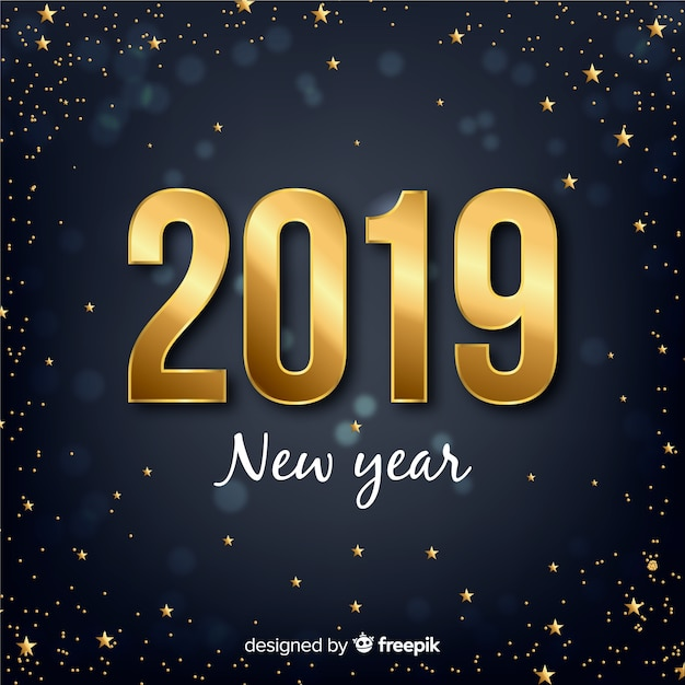 New year golden number background Free Vector
