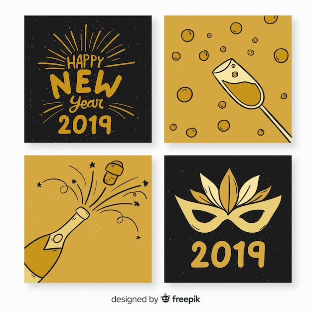 New Year Greeting 2019 Vector Free Download