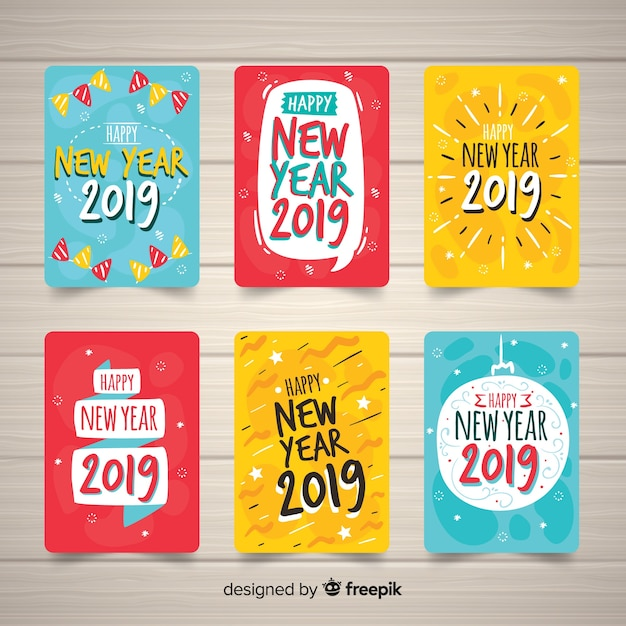 New year greeting 2019 Free Vector