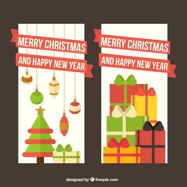 New year greeting and christmas in flat\ design