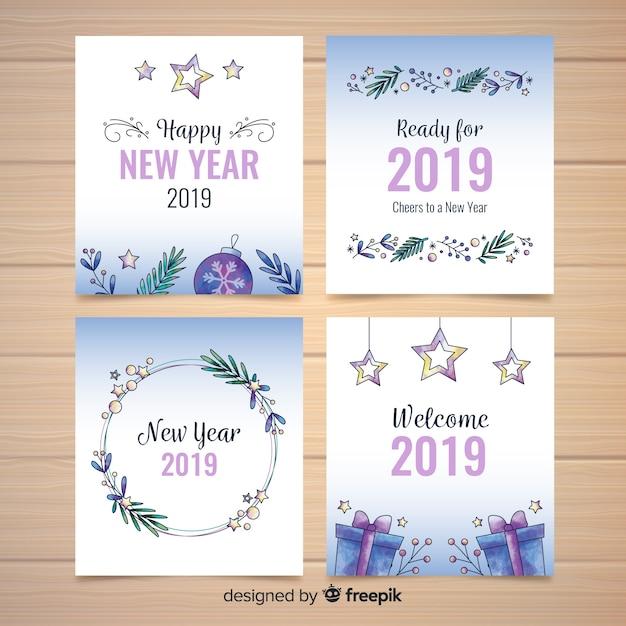 Коллекция новогодних открыток Бесплатные векторы