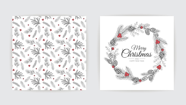 New year greeting card design with christmas tree. Premium Vector