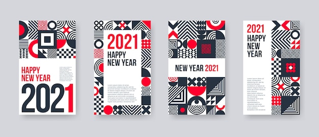 New year greeting card set. poster set with geometric shapes and pattern. Premium Vector