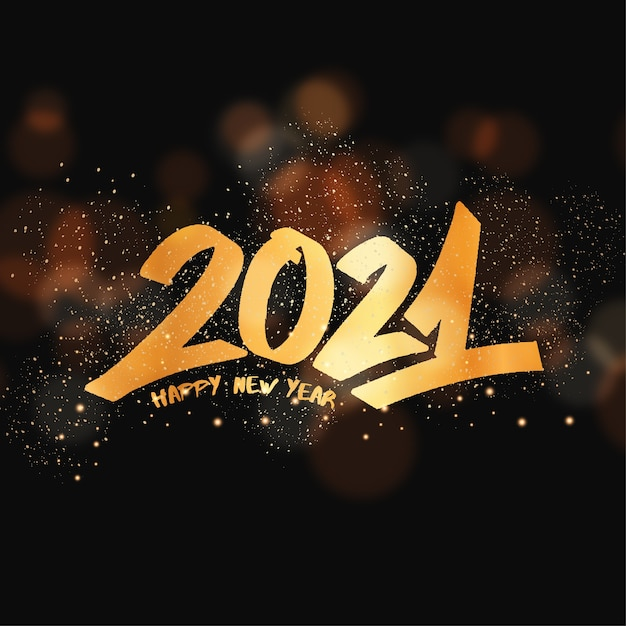 New year greeting card with graffiti lettering Free Vector