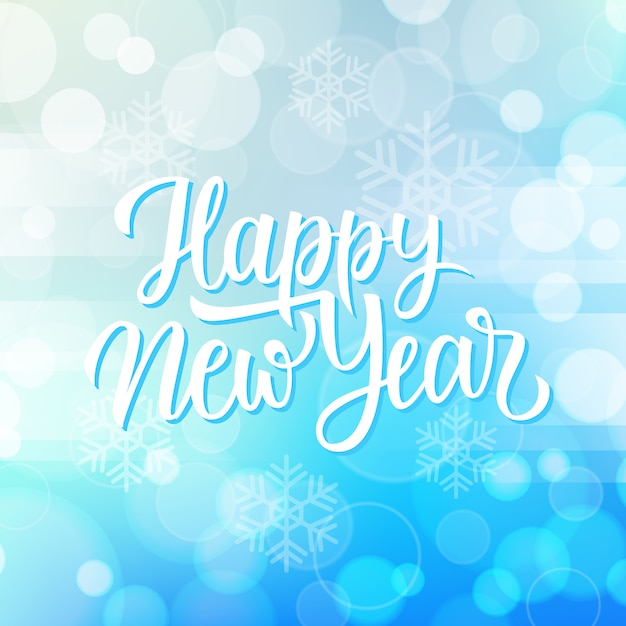 New year greeting card with hand lettering holiday greetings happy new year and snowflakes on blue bokeh background. Premium Vector