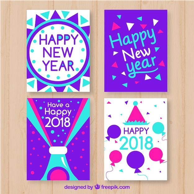 New year greeting cards in bright neon purple and blue