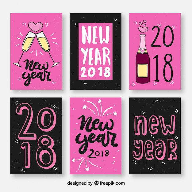New year greeting cards in pink and black vector free download new year greeting cards in pink and black free vector m4hsunfo