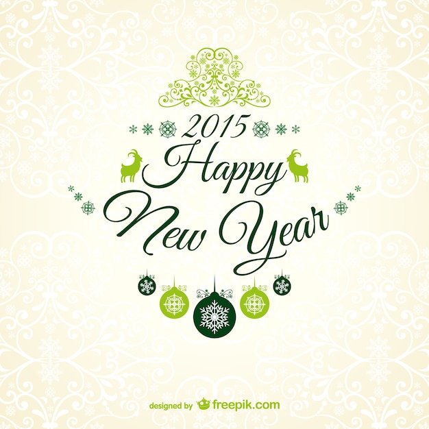 New Year greetings card Vector | Free Download