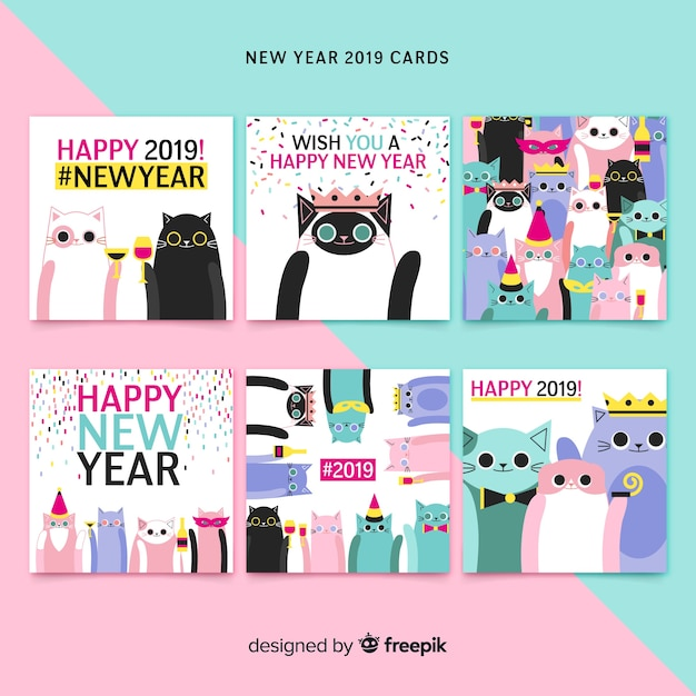 New year hand drawn cats cards pack Free Vector