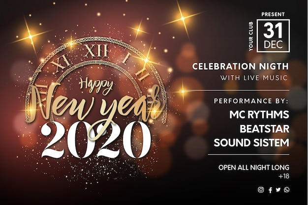 New year horizontal poster background Free Vector