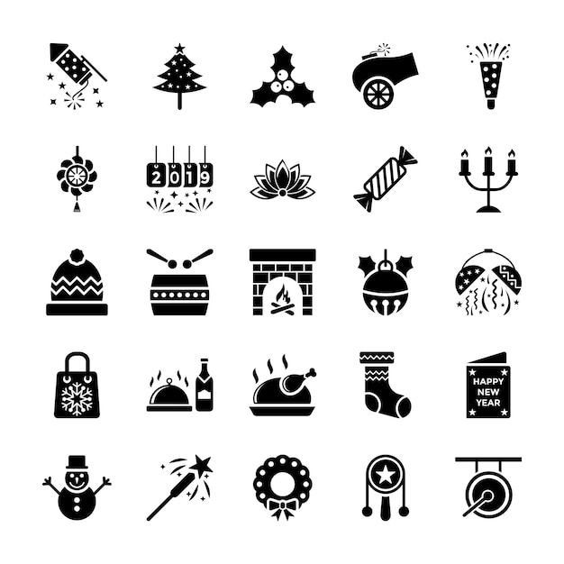 New year icons pack Premium Vector