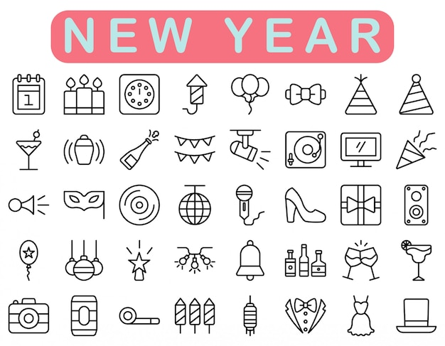 New year icons set, outline style Premium Vector