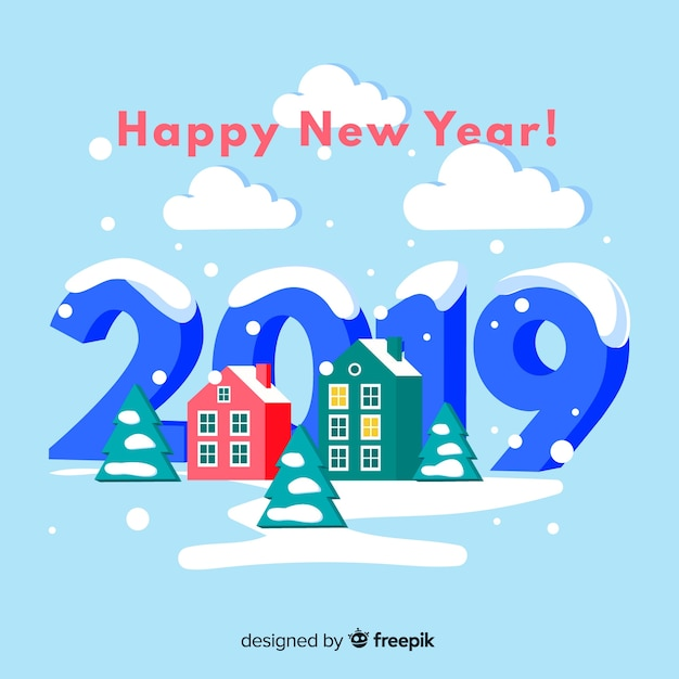 New year isometric houses background Free Vector