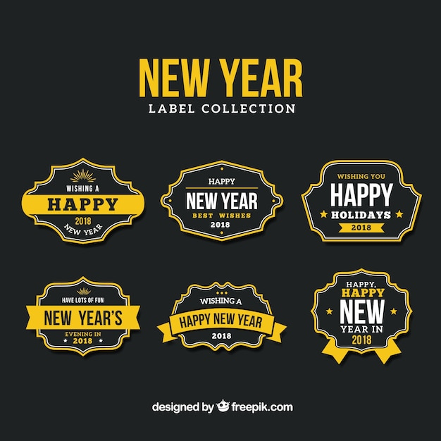 new year label collection in black and yellow free vector