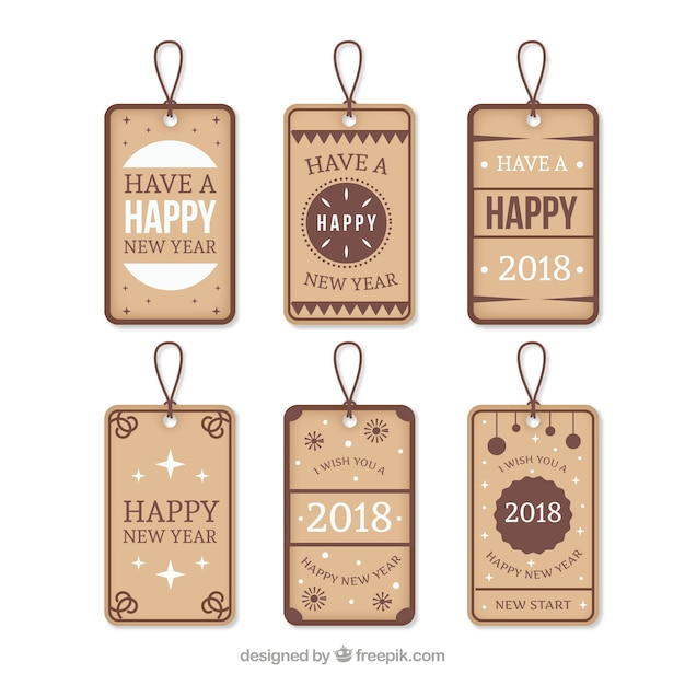 new year labels pack free vector
