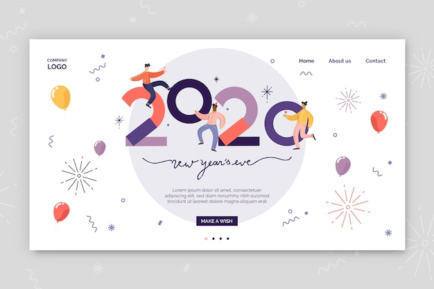 New year landing page flat design Free Vector