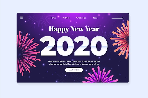 New year landing page in flat design Free Vector