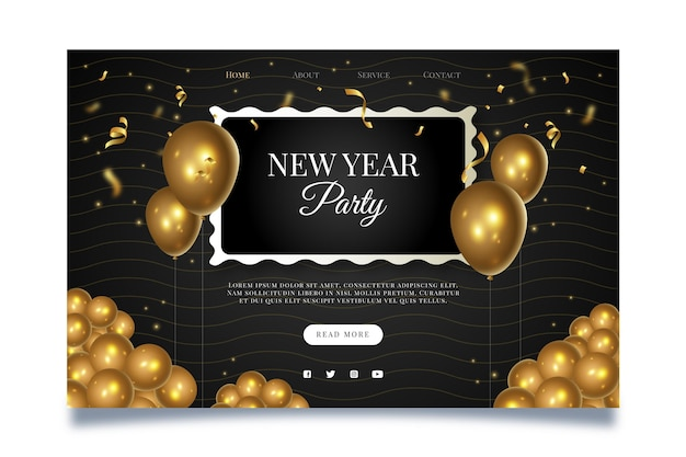 New year landing page template Free Vector