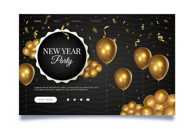 New year landing page Free Vector
