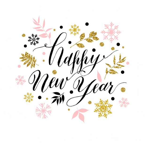 New year lettering Free Vector