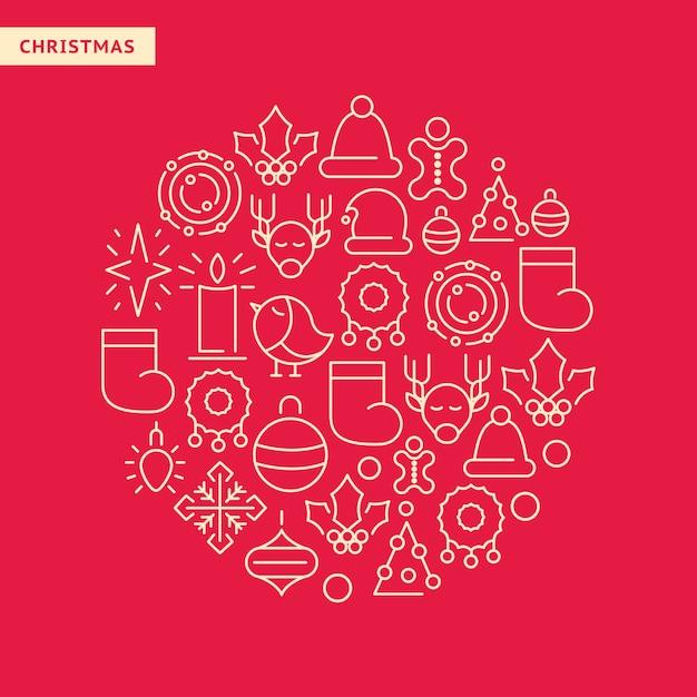 Icone allineate del nuovo anno messe con gli elementi di natale in forma rotonda sul rosso Vettore gratuito