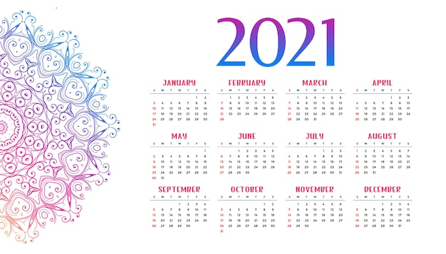 New year mandala style calandar  template Free Vector