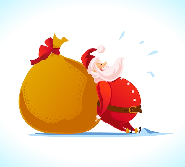 New year and merry christmas  concept. cartoon style. santa claus character portrait and gift bag  on white background. good for xmas congratulation advertisement, card, . Premium Vector