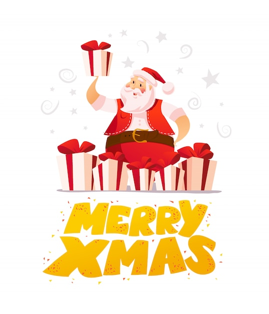New year and merry christmas  concept. cartoon style. santa claus character portrait and gifts  on white background. good for xmas congratulation advertisement, card, . Premium Vector