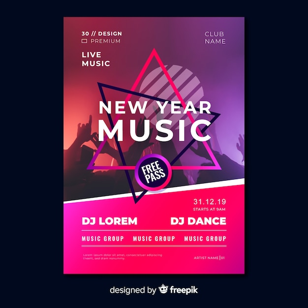 New year music party flyer template Free Vector