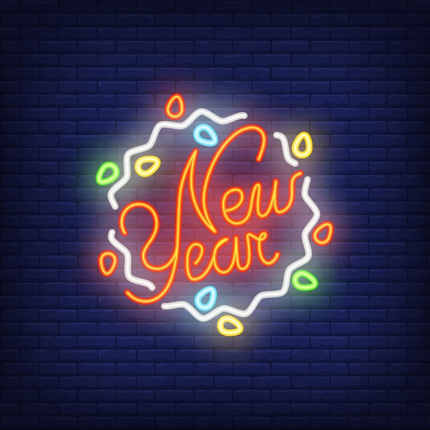 New year neon sign with garland. christmas concept for night bright advertisement. Free Vector