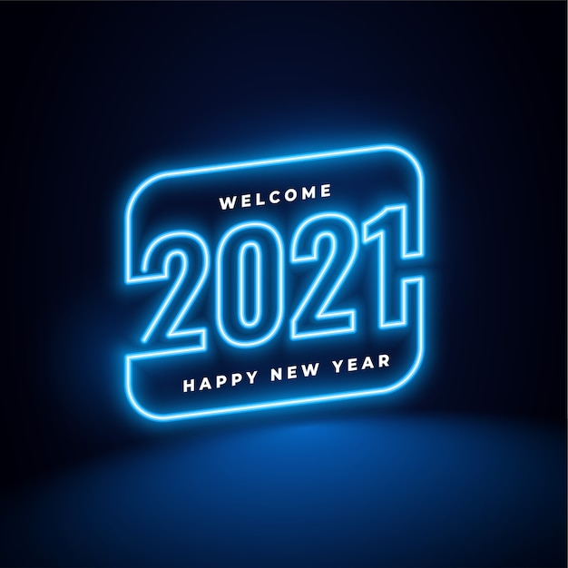 New year in neon style background Free Vector